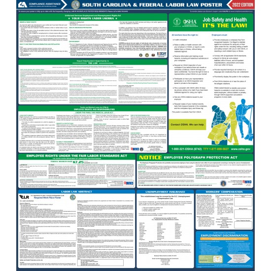 2021 South Carolina Digital State and Federal Labor Law Poster