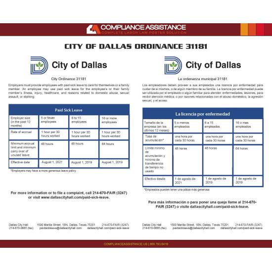 City of Dallas Paid Sick Leave Ordinance English/Spanish