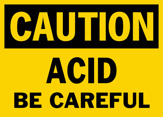 Caution Acid Be Careful Safety Sign