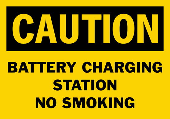 Caution Battery Charging Station No Smoking Safety Sign